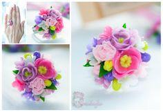 Girls pink purple jewelry flower ring flower by OrxideykaStudio