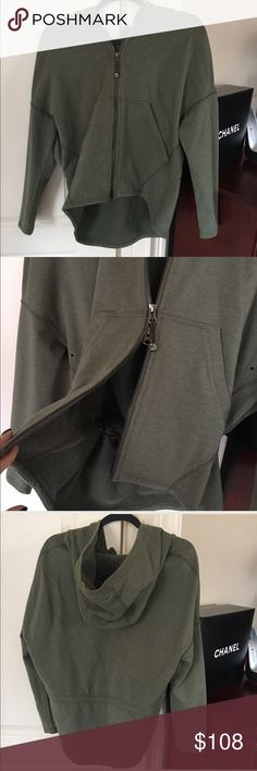 LULULEMON Hold Your Om Hoodie Jacket size 4. LULULEMON, new with out tags  Hold Your Om Hoodie Jacket Heathered Olive green, Size 4, can fit a 6.  Gorgeous hoodie with dropped hem and deep hood Made of soft stretch French Terry Cinch the drawstring in the back to customize fit Venting underarms & 2 way zipper. New never worn, with no tags  EXCELLENT CONDITION.  100% AUTHENTIC lululemon athletica Tops Sweatshirts & Hoodies