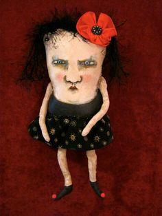 weird monster doll, sandy mastroni, red flower ,odd doll,monster Elaine art doll, original doll, whimsical doll art