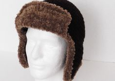 Faux Fur Trimmed Unisex Trapper Hat Aviator Hat by Yarnettes