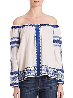 Love Sam Wanda Off-The-Shoulder Embroidered Top - White-Blue