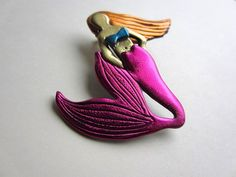 mermaid brooch with fuchsia hot pink tail by Pinderella on Etsy