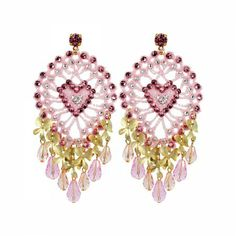 Lacrom Store    Claudia Baldazzi, Accessories, Pinecone Earrings  Earrings with cotton handmade crocheted cones, with golden brass details, light rose Swarovski, gold plated brass orchids, pendant crystal drops and light rose Swarovski pins.