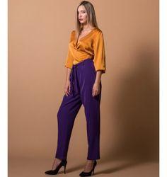 Παντελόνι Ψηλομεσο με ζώνη - Βιολετί Parachute Pants, Purple, Black, Fashion, Moda, Black People, Fashion Styles, Purple Stuff, Fasion