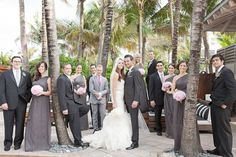 Super stylish wedding party! Love the grey and pink!