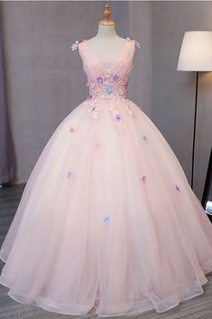 long prom dresses - Gorgeous Beautiful Pink tulle floor length V neck long sweet 16 prom dress, long flower lace appliques graduation dress Sweet 16 Dresses, Trendy Dresses, Cute Dresses, Beautiful Dresses, Fashion Dresses, Sweet 16 Outfits, Puffy Dresses, Emo Outfits, Ball Dresses