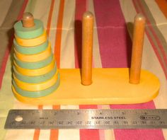 Vintage Wooden Puzzle Game Tower of Hanoi or by heresthething, $17.99