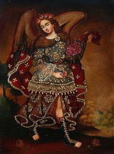 """Archangel Gabriel"" by an anonymous artist of the Cuzco school, Peru, 18th Century, Cuzco School Colonial Art"