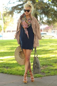 loose fit dress, big scarf and wedges!