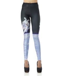 Spaceman Moon Landing Print Leggings | BlackFive