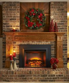 Astounding Image Of Fake Fireplace For Home Interior Decoration Ideas : Engaging Home Interior Design And Decoration Using Solid Light Oak Wood Shelf Over Fireplace Including Brick Long Gas Fireplace And Aged Brick Fireplace Surround Red Brick Fireplaces, Fake Fireplace, Fireplace Shelves, Living Room With Fireplace, Fireplace Surrounds, Fireplace Design, Fireplace Mantels, Fireplace Ideas, Living Rooms