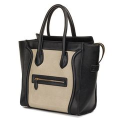 Black and Cream Structured Leather Luggage Tote: – HomeGoodsGalore.com