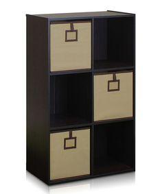 Espresso Six-Cube Organizer Shelf