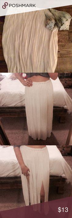 🌺3FOR$15🌺 Maxi Skirt M-slit maxi skirt. Lovely & delicate sheer maxi skirt with short slip attached. White & gathered pleating. Elastic waistband. Forever 21 Skirts Maxi