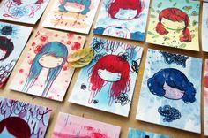 100 little faces, an adorable watecolor project via Stasia Burrington