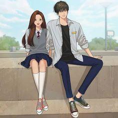 Cute Couple Art, Anime Love Couple, Pretty Anime Girl, Beautiful Anime Girl, Girls Anime, Anime Art Girl, Romantic Anime Couples, Cute Couples, Cute Anime Coupes