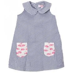 Look what I found on Navy & White Stripe Fish-Pocket Emily Lacey Shift Dress - Infant, Toddler & Girls Pink Fish, Peter Pan Collars, Embroidered Clothes, Navy Stripes, Seersucker, Navy And White, Preppy, Perfect Fit, Infant Toddler