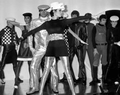 "Models present creations called ""cosmocorps"" by top designer Pierre Cardin in 1968"