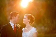 Golden hour wedding portrait!  LDS Temple Newport Beach.  Southern California Premier Wedding Photographer.  Kirstin Burrows Photography