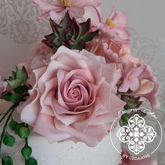 Romantic pink sugar rose Sugar Rose, Pink Sugar, Sugar Flowers, How To Make Cake, Cake Designs, Romantic, Plants, Cake Templates, Flora