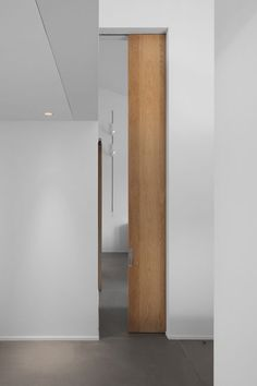 Tall wooden sliding door by Peter Ivens.  It would be nice to emphasize the height in the lower level and the stripe on the wall is a nice visual design element.