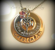 Hand Stamped Jewelry / RN necklace / Nurses / by BeeBaublesJewelry, $32.00 for my nursing friends!