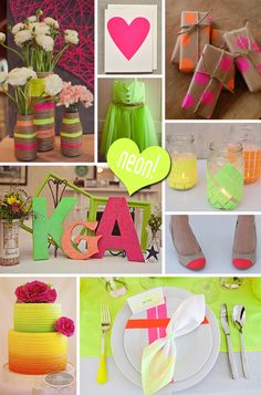 Neon Wedding Inspiration; LOVE the jar candle holders and the letters