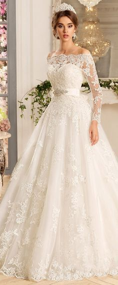 Glamorous Tulle & Satin Off-the-shoulder Neckline A-Line Wedding Dresses With Beaded Lace Appliques