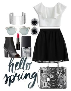 """""""Spring date idea!"""" by isabellaarce ❤ liked on Polyvore featuring Yves Saint Laurent, NARS Cosmetics, Chicwish, even&odd, Smashbox, Christian Dior and Dinh Van"""