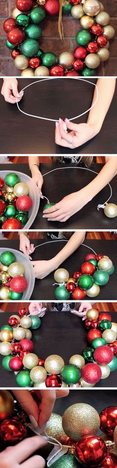 Last Minute DIY Christmas Decorations on a Budget - Picture Frame Wreaths Beautiful Baubles Diy Christmas Decorations Easy, Xmas Wreaths, Christmas Projects, Holiday Crafts, Christmas Ideas, Handmade Decorations, Door Wreaths, Tree Decorations, Noel Christmas
