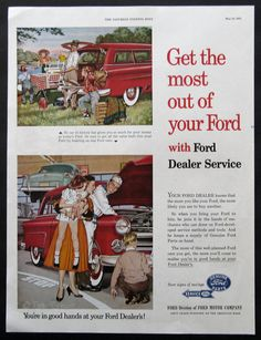 1953 Ford Dealer Service Advertisement - 1950s Ford Ads - Family Picnic - Red Ford Station Wagon - Children, Boy, Girl - Vintage Advertising