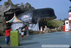 Monstro awaits the next boatload of Disneyland guests on the Storybook Land Canal Boats, July 1958