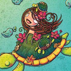 muñequita montada en una tortuga