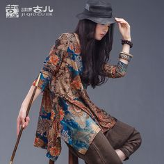 Find More Blouses & Shirts Information about Jiqiuguer Brand Long Sleeve Tops for Women Loose Vintage Floral Blouse in Casual Plus Size Print Tees for Summer Tops G133Y002,High Quality designer blouse,China designer ladies tops Suppliers, Cheap ladies designer tops from Jiqiuguer on Aliexpress.com