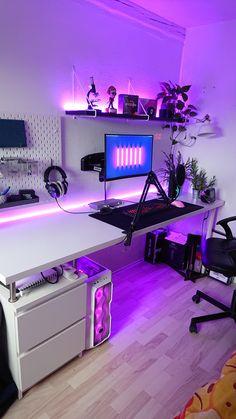 Gamer Bedroom, Bedroom Setup, Room Design Bedroom, Room Ideas Bedroom, Computer Gaming Room, Gaming Room Setup, Pc Setup, Best Gaming Setup, Gamer Setup