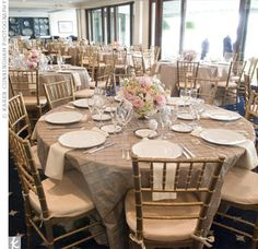 simple reception decor with taupe pintuck linens, ivory napkins and gold chiavari chairs. Taupe Wedding, Gold Wedding Colors, Wedding Color Schemes, Wedding Beach, Wedding 2017, Trendy Wedding, Spring Wedding, Wedding Planner, Wedding Table Linens