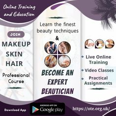 Learn the art to transform person's outlook by joining Makeup, Skin and Hair Professional course offered by Online Training & Education (OTE) website/app. Hurry Up! Join OTE now and learn the finest beauty techniques online via live online training and video classes. Course Offering, Join, Training, App, Education, Website, Live, Makeup, Beauty