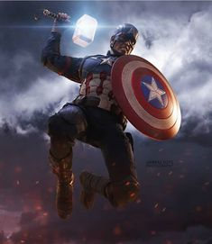 Captain America wields Mjolnir Captain America with Mjolnir in Avengers: Endgame Marvel Avengers Comics, Marvel Avengers Assemble, The Avengers, Marvel Heroes, Marvel Characters, Marvel Marvel, Funny Avengers, Marvel Films, Marvel Captain America