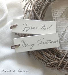 Personalised Christmas Clay Tags  Set of Four  by FrenchandSparrow, $12.00