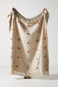 Polka Dot Pom Throw Blanket | Anthropologie Polka Dot Bedding, Polka Dot Fabric, Polka Dots, Anthropologie Bedding, Anthropologie Uk, Bed Cushions, Sofa Bed, Bedding Collections, Beige
