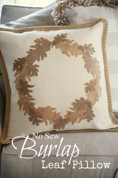StoneGable: FALL NO SEW BURLAP LEAF PILLOW DIY