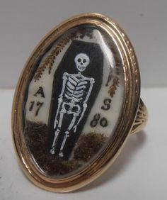 STUNNING GOLD MEMENTO MORI MOURNING SKELETON RING ADAM SCHWENCK At 13 Sept 1780