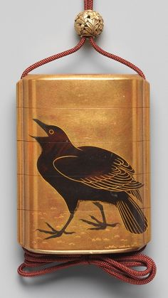 JAPANESE 4 CASE GOLD LACQUER INRO with CROW