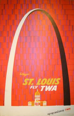 American illustrator, David Klein created numerous travel posters for Howard Hughes' Trans World Airlines (TWA) in the 1950s and '60s. The composition of this particular poster is fantastic, as Klein sets the St. Louis Gateway Arch against a festively patterned background, emphasizing its momentous size.