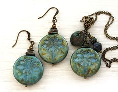Rustic dragonfly Jewelry Set with blue czech glass beads, that were patinated to old look. Also mathed with greek ceramic spacers and patinated