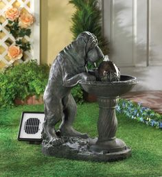 Solar Thirsty Dog Fountain A fun faux-bronze water fountain features a thirsty dog lapping up a cool drink of water. Solar power lets you.