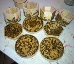 Work in Progress: Steampunk Henna Designs on Wood Boxes. Wood Boxes, Henna Designs, Graphic Art, Steampunk, Artist, Ann, Collection, Henna Art Designs, Wooden Crates