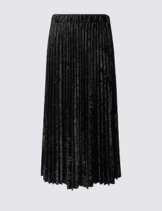 Velvet Pleated A-Line Midi Skirt   M&S