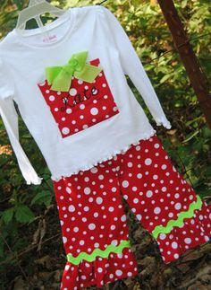 Christmas Polka Dot Present Outfit with Monogram by livikate1, $40.00