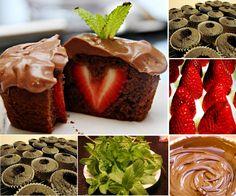 Chocolate Pudding Strawberry Centre Cupcakes